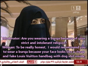 Fake, Shit, and Louis Vuitton: 12  Moderator: Are you wearing a burqa because of your  strict and intolerant religion?  Woman: To be really honest, I would recommend you  to wear a burqa because your face looks like a cheap  and fake Louis Vuitton handbag with dog shit inside.  13:11