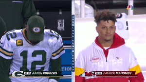 Aaron Rodgers, Nfl, and Sunday: 12  Mukomes  TION  QB 12  AARON RODGERS  QB 15  PATRICK MAHOMES  SUNDAY NIGHT FO0 TBALL Next Gen Stat: SNF cut to Patrick Mahomes 40 different times Sunday night https://t.co/H1RnH0UWJq