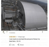 Google, Reviews, and Been: 12 reviews  t4 days ago  I can count on one hand the amount of times I've  been here. It's 14  1(b Like  く  Share Google review of Chernobyl