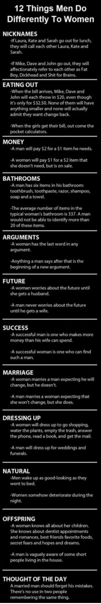 <p>Some Things Men Do Differently To Women</p>: 12 Things Men Do  Differently To Women  NICKNAMES  -If Laura, Kate and Sarah go out for lunch,  they will call each other Laura, Kate and  Sarah.  -If Mike, Dave and John go out, they will  affectionately refer to each other as Fat  Boy, Dickhead and Shit for Brains.  EATING OUT  When the bill arrives, Mike, Dave and  John will each throw in $20, even though  it's only for $32.50. None of them will have  anything smaller and none will actually  admit they want change back.  -When the girls get their bill, out come the  pocket calculators.  MONEY  A man will pay $2 for a $1 item he needs.  -A woman will pay $1 for a $2 item that  she doesn't need, but is on sale  BATHROOMS  -A man has six items in his bathroom:  toothbrush, toothpaste, razor, shampoo  soap and a towel.  -The average number of items in the  typical woman's bathroom is 337. A man  would not be able to identify more than  20 of these items.  ARGUMENTS  -A woman has the last word in any  argument.  -Anything a man says after that is the  beginning of a new argument.  FUTURE  -A woman worries about the future until  she gets a husband.  A man never worries about the future  until he gets a wife.  SUCCESS  A successful man is one who makes more  money than his wife can spend.  -A successful woman is one who can find  such a man.  MARRIAGE  -A woman marries a man expecting he will  change, but he doesn't.  -A man marries a woman expecting that  she won't change, but she does.  DRESSING UP  A woman will dress up to go shopping,  water the plants, empty the trash, answer  the phone, read a book, and get the mail.  -A man will dress up for weddings and  funerals.  NATURAL  -Men wake up as good-looking as they  went to bed.  Women somehow deteriorate during thee  night.  OFFSPRING  -A woman knows all about her children.  She knows about dentist appointments  and romances, best friends favorite foods,  secret fears and hopes and dreams.  -A man is vaguely aware of 
