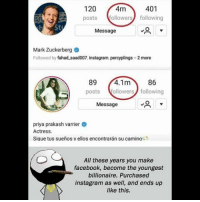 Be Like, Facebook, and Instagram: 120 4m401  posts followers following  St  Message  Mark Zuckerberg  Followed by fahad saad007, instagram, percyplings+2 more  89 4.1m86  posts ollowers following  Message  priya prakash varrier  Actress.  Sique tus sueños v ellos encontrarán su camino  All these years you make  facebook, become the youngest  billionaire. Purchased  instagram as well, and ends up  like this. Twitter: BLB247 Snapchat : BELIKEBRO.COM belikebro sarcasm meme Follow @be.like.bro
