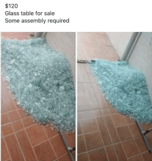 $120 labor not included: $120  Glass table for sale  Some assembly required $120 labor not included