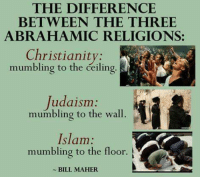 ~Twig: THE DIFFERENCE  BETWEEN THE THREE  ABRAHAMIC RELIGIONS:  Christianity  mumbling to the deiling  Judaism  mumbling to the wall.  Islam  mumbling to the floor.  BILL MAHER  A ~Twig