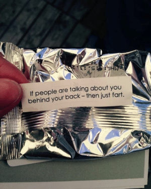 Great advice.: 121  If people are talking about you  behind your back - then just fart. Great advice.
