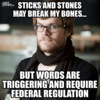 STICKS AND STONES  ROWDERoow  MAY BREAK MY BONES...  BUT WORDS ARE  TRIGGERING AND REQUIRE  FEDERALREGULATION