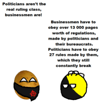 Break, The Real, and Anarchyball: Politicians aren't the  real ruling class,  businessmen are!  Businessmen have to  obey over 13 000 pages  worth of regulations,  made by politicians and  their bureaucrats.  Politicians have to obey  27 rules made by them,  which they still  constantly break Svetoslav Svetlozarov