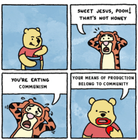 Pooh Thats Not Honey: YOU'RE EATING  COMMuNISM  SWEET JESUS, POOH  THAT'S NOT HONEY  YOUR MEANS OF PRODUCTION  BELONG TO COMMUNITY