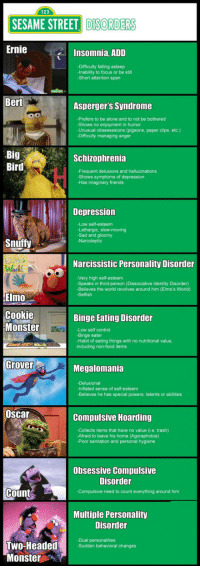 <p>Sesame Street Mental Disorders.</p>: 123  SESAME STREET DISORDER  Ernie  Insomnia, ADD  -Difficulty falling asleep  -Inability to focus or be still  -Short attention span  Bert  Asperger's Syndrome  -Prefers to be alone and to not be bothered  -Shows no enjoyment in humor  -Unusual obsessesions (pigeons, paper clips, etc.)  -Difficulty managing anger  Big  Bird  Schizophrenia  -Frequent delusions and hallucinations  -Shows symptoms of depression  -Has imaginary friends  Depression  -Low self-esteem  -Lethargic, slow-moving  -Sad and gloomy  -Narcoleptic  Snuffy  Narcissistic Personality Disorder  -Very high self-esteem  -Speaks in third-person (Dissociative Identity Disorder)  Believes the world revolves around him (Elmo's World)  Selfish  Elmo  Cookie  Monster  Binge Eating Disorder  -Low self control  -Binge eater  -Habit of eating things with no nutritional value  including non-food items  Grover  Megalomania  -Delusional  -Inflated sense of self-esteem  -Believes he has special powers, talents or abilities  Oscar  Compulsive Hoarding  -Collects items that have no value (i.e. trash)  -Afraid to leave his home (Agoraphobia)  -Poor sanitation and personal hygiene  Obsessive Compulsive  Disorder  Count  -Compulsive need to count everything around him  Multiple Personality  Disorder  -Dual personalities  -Sudden behavioral changes  Monster <p>Sesame Street Mental Disorders.</p>