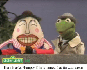 All the king's men: 123  SESAME STREET  Kermit asks Humpty if he's named that for ...a reason All the king's men