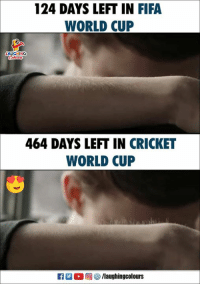 cricket world cup: 124 DAYS LEFT IN FIFA  WORLD CUP  AUGHING  464 DAYS LEFT IN CRICKET  WORLD CUP  0回な9 /laughingcolours