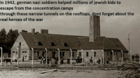 History is really amazing: In 1942, german nazi soldiers helped millions of jewish kids to  escape from the concentration camps  through these narrow tunnels on the rooftops, dont forget about the  real heroes of the war History is really amazing