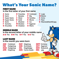 Sonic the Hedgehog: What's Your Sonic Name?  FIRST NAME  Is the first letter of your first name  A Sonic  H Knackles  o Coldsteel  V Luigi  w Blonic  B Sanic  I Nerples  P Big  C Super Sanic  J Silver  Sonikku  X Arms  R Blonic  Y Paul  D Super Sonic  K Gold  E Sonk  L Shadow  S Ivo  z Maxresdefault (2) jpg  F Sonichu  M Shedew  T Eggman  G Knuckles  N Chadow  U Mario  MIDDLE NAME  ls the second letter of your middle name  A-G The H-N The O-T The U-Z The  LAST NAME  Is the month you were born  SEPT Echidna  JAN Cold steel  MAY Edgehog  Hedgehog JUN Enchilada  FEB OCT Eggman  MAR Hedgeheg JUL  Hog Hedge  NOV  Robotnik  APR Hegehog  AUG Carne Asada  DEC jpg