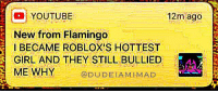 robloxs: 12m ago  10 YOUTUBE  New from Flamingo  BECAME ROBLOX'S HOTTEST  GIRL AND THEY STILL BULLIED  ME WHY @DUDEIAMIMAD