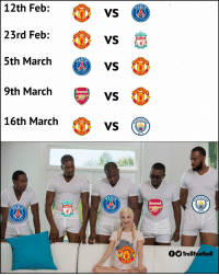 Arsenal, Memes, and 🤖: 12th Feb:  23rd Feb:  5th March  HE  ARI  VS  VS  9th March vs  ONIT  HE  NIT  CHES  VS  CHES  HE  16th March  CITY  /NITE  CHES  AR  Arsenal  AR  CITY  HE  fS TrollFootball RIP Man Utd https://t.co/42JSJupFCB
