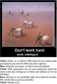 Apparently, Hello, and Memes: 13  03  Don't work hard  work intelligent  Client: Hello, so I ordered 1000 cubes for my home made  pyramid but you sent me 998 ones and 2 spheres  Boss: What do you mean, we don't even sell spheres.  Client: Well, apparently one of your employees spent the  entire work day cutting two of them into spheres so he can  roll them  Boss: Oh lord, it was probably John, he is kind of an idiot.  We will fix this as soon as possible  Client: Thanks a lot. <p>Idiot? On the contrary. He's on a roll.</p><p><b><i>You need your required daily intake of memes! Follow <a>@nochillmemes</a>​ for help now!</i></b><br/></p>