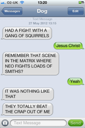 Jesus, The Matrix, and Yeah: 13:20  02-UK  Dog  Messages  Edit  Text Message  27 May 2012 13:15  HAD A FIGHT WITH A  GANG OF SQUIRRELS  Jesus Christ  REMEMBER THAT SCENE  IN THE MATRIX WHERE  NEO FIGHTS LOADS OF  SMITHS?  Yeah  IT WAS NOTHING LIKE  THAT  THEY TOTALLY BEAT  THE CRAP OUT OF ME  Text Message  Send