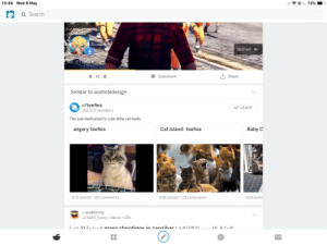 """Cute, Funny, and Videos: 13:38 Wed 8 May  Q Search  Skip ad  Comment  T, Share  Similar to assholedesign  r/teefies  165,219 members  LEAVE  The sub dedicated to cute little cat teefs.  Cat island- teefies  Baby C  angery teefies  5.7k points 25 comments  4.8k points . 23 comments  4.5k point  r/arabfunny  u/hafifi_funny_videos 13h  d, 'ได้.VI """".^ 1-ti macc chr ntinơc ịn 7an7.har : 1.V/笘""""K:tl Somehow related to asshole design"""
