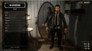 Proud, Back, and Hats: 13 57 $21599  WARDROBE  TAILOR  Outfits  Hats  Bandanas  Neckwear  Coats  Ponchos  Vests  Shirts  l of 17  SAVE OUTFIT  MODIFY  SELECT A  Choose a full outfit.  BACK B  NNNENNER Keanu would be proud