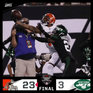 FINAL: The @Browns WIN on #MNF! #Browns #CLEvsNYJ  (by @Lexus) https://t.co/i11HE2stsd: 13  FVELA  adkts  MONDAY  NIGHT  NEW YORK  FOOTBALL  33  JETS  23  NFL  FINAL  MORE  arh FINAL: The @Browns WIN on #MNF! #Browns #CLEvsNYJ  (by @Lexus) https://t.co/i11HE2stsd