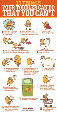"Cute, Food, and Grandma: 13 THINGS  YOUR TODDLER CAN DO  THAT YOU CAN'T  Sleep on 15 pillows,  wake up without  a neck ache  2 Wear nothing but  Look cool  wearing a cape  underwear and shoes  while Grandma is over  Eat the same food for breakfast,  lunch and dinner for three weeks  Demand an audience  while pooping  6 Taithtabouterthehr  Tell strangers the  truth about their  appearances  7 assenble ne the to8 ntnhody  Fit entire body  in the bathtub  assemble in the  living room to watch  you sing a song you  ust made up  SNORT  Completely fill your  phone's memory  with nostril selfies  in under two minutes  103  Inspire gushing  praise by drawing  a stick figure  Nom  .Nom  1 Sleep sideways across  someone else's bed  Get an extra cookie  from the sample oCKMoM  lady just because  you're cute  Get super-excited  about grocery  shopping <p><a href=""https://epicjohndoe.tumblr.com/post/175511440684/things-your-toddler-can-do-that-you-cant"" class=""tumblr_blog"">epicjohndoe</a>:</p>  <blockquote><p>Things Your Toddler Can Do That You Can't</p></blockquote>"