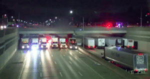 Bridge, Man, and Drivers: 13 Truck Drivers Parked Side By Side Under Bridge To Stop Man From Jumping