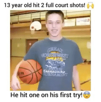 Memes, Game, and Old: 13 year old hit 2 full court shots!  He hit one on his first try! Have you ever hit a buzzer beater to win a game?😳🔥 - Follow me @thrillingsports for more!