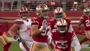 Nick Bosa throwing shade at Baker as he demolishes him is what we live for https://t.co/hPR2TWneve: 131  CLEVE Nick Bosa throwing shade at Baker as he demolishes him is what we live for https://t.co/hPR2TWneve