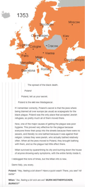 """The plague: 1353  Moscow  Stockholm  penhage  Kiev  Londo  Cologne Cracow  Vienna  Paris Milan  Marsailles  BarcejonaRome  Constantinople  The spread of the black death  Poland  Poland, tell us your secret.  Poland is the ele new Madagascar  If I remember correctly, Poland's secret is that the jews where  being blamed all over europe (as usual) as scapegoats for the  black plague. Poland was the only place that accepted Jewish  refugees, so pretty much all of them moved there  Now, one of the major causes of getting the plague was poor  hygiene. This proved very effective for the plague because  everyone threw their poop into the streets because there were no  sewers, and literally no one bathed because it was against their  religion. Unless they were jewish, who actually bathed relatively  often. When all the jews moved to Poland, they brought bathing  with them, and so the plague had little effect there  Milan survived by quarantining its city and burning down the house  of anyone showing early symptoms, with the entire family inside it.  I reblogged this tons of times, but the Milan info is new  Damn Italy, you scary  Poland: """"Hey, feeling a bit down? Have a quick wash! There, you see? Al  better""""  Milan: """"Aw, feeling a bit sick are we? BURN MOTHERFUCKER,  BURN!!! The plague"""
