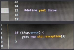 Define, Programming, and Std: 14  15  #define yeet throw  17  if (tRsp.error) f  yeet new std: :exception();  9 Programming in 2019