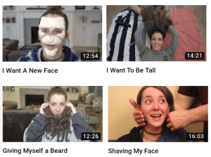 Beard, Jenna Marbles, and Waiting...: 14:21  12:54  I Want To Be Tall  Want A New Face  12:26  16:03  Giving Myself a Beard  Shaving My Face Waiting for Jenna Marbles egg to crack