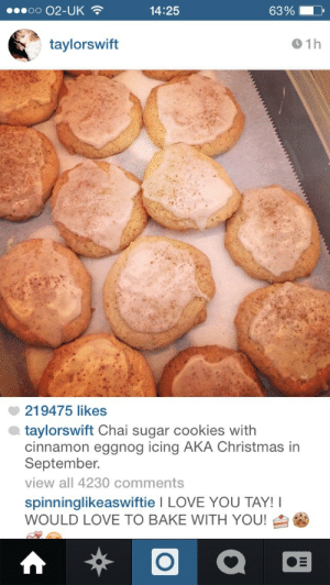 rhyse:  taylorswift:  imnotsomefloozy:  taylorswift we need a recipe for these please! 🍪🍪🍪  MMMKAY— there are two ways you can go about this. The quick and easy way is to make sugar cookies from a sugar cookie mix and just cut open a packet of chai tea and pour it into the batter as you make it. Cause you're busy and you want making cookies to be a chill part of your day.Pow. Done. OR If you want to make the cookies from scratch (that's what I did for the 1989 Secret Sessions), you can use this recipe I found on a baking blog I like, joythebaker.com and I believe it was originally from a book called The Pastry Queen. If you want another great baking blog, I get a lot of great ideas from smittenkitchen.com too. This is a recipe for basic insanely good sugar cookies. I added the chai element to the recipe because I thought it would infuse cozy holiday vibez into the cookie and it really did. So I'll star the part that I added in the recipe. http://joythebaker.com/2009/06/giant-vanilla-sugar-cookies/ ***after you add the egg and vanilla, cut one chai tea packet open and empty the crushed up tea leaves into the batter CAUSE CHAI COOKIES ARE ABOUT TO HAPPEN UP IN HERE*** I made an icing for the cookies, but they're fine on their own. If you want to make icing for them, just mix 1 cup powdered sugar with 1/4 T-spoon of nutmeg, 1/4 T-spoon of cinnamon and 3 TAYblespoons —-(I'm so annoying, it astounds me sometimes) of milk or eggnog if you can find it this time of year. The more milk/eggnog you add, the more your icing will become a glaze. But glazes are legit too so basically just LIVE YOUR LIFE. I lightly sprinkled cinnamon over the icing once the cookies were baked and iced, but there are so many icing options you can pair with these cookies—I mean it's out of control. If you're really feeling like living on the edge, you can go ahead and add a few drops of food coloring to the icing to make it festive. No one is going to stop you. Why? Cause the bakers gonna bake bake bake bake bake. Bye.  did taylor swift really just show up out of the blue on tumblr only to drop some betty crocker shit on us what the fuck : 14:25  63%  taylorswift  01h  219475 likes  taylorswift Chai sugar cookies with  cinnamon eggnog icing AKA Christmas in  September.  view all 4230 comments  spinninglikeaswiftie I LOVE YOU TAY!I  WOULD LOVE TO BAKE WITH YOU! rhyse:  taylorswift:  imnotsomefloozy:  taylorswift we need a recipe for these please! 🍪🍪🍪  MMMKAY— there are two ways you can go about this. The quick and easy way is to make sugar cookies from a sugar cookie mix and just cut open a packet of chai tea and pour it into the batter as you make it. Cause you're busy and you want making cookies to be a chill part of your day.Pow. Done. OR If you want to make the cookies from scratch (that's what I did for the 1989 Secret Sessions), you can use this recipe I found on a baking blog I like, joythebaker.com and I believe it was originally from a book called The Pastry Queen. If you want another great baking blog, I get a lot of great ideas from smittenkitchen.com too. This is a recipe for basic insanely good sugar cookies. I added the chai element to the recipe because I thought it would infuse cozy holiday vibez into the cookie and it really did. So I'll star the part that I added in the recipe. http://joythebaker.com/2009/06/giant-vanilla-sugar-cookies/ ***after you add the egg and vanilla, cut one chai tea packet open and empty the crushed up tea leaves into the batter CAUSE CHAI COOKIES ARE ABOUT TO HAPPEN UP IN HERE*** I made an icing for the cookies, but they're fine on their own. If you want to make icing for them, just mix 1 cup powdered sugar with 1/4 T-spoon of nutmeg, 1/4 T-spoon of cinnamon and 3 TAYblespoons —-(I'm so annoying, it astounds me sometimes) of milk or eggnog if you can find it this time of year. The more milk/eggnog you add, the more your icing will become a glaze. But glazes are legit too so basically just LIVE YOUR LIFE. I lightly sprinkled cinnamon over the icing once the cookies were baked and iced, but there are so many icing options you can pair with these cookies—I mean it's out of control. If you're really feeling like living on the edge, you can go ahead and add a few drops of food coloring to the icing to make it festive. No one is going to stop you. Why? Cause the bakers gonna bake bake bake bake bake. Bye.  did taylor swift really just show up out of the blue on tumblr only to drop some betty crocker shit on us what the fuck
