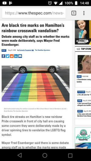 LGBTUVWXYZ Cringe: 14:48  100%  https://www.thespec.com/news-  Are black tire marks on Hamilton's  rainbow crosswalk vandalism?  Debate among city staff as to whether the marks  were made deliberately, says Mayor Fred  Eisenberger.  +ATTRIDGE  TRANSPORTATON NC  O TOP STORI  by Carmela Fragomeni  NEWS  Aug 21, 2018  The Hamilton Spectator  fy inM  CRIME 04:00 AM  Townhouse comp  bullets  TELEVISION Aug 23,  d'It's all over for 'T  CRIME Aug 23, 2018  A Girl rescued from  alleged sex-trafficl  Skid marks streteh along the rainbow crosswalk on Main Street West in front of Hamilton's city hall. -  WORLD Aug 23, 2015  Scott Gardner, The Hamilton Spectator  dSix-year-old ord  Barbies from Amaz  Black tire streaks on Hamilton's new rainbow  Pride crosswalk in front of city hall are causing  some concern they were deliberately made by a  driver spinning tires to vandalize the LGBTQ flag  (70  symbol.  Harsers  Mayor Fred Eisenberger said there is some debate  among staff as to whether the marks were made LGBTUVWXYZ Cringe