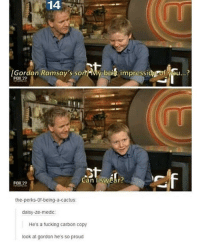 Good: 14  Gordon Ramsay's son bet impressidg of you..?  FOX 29  FOX 29  can I swar?  the-perks-of-being-a-cactus  daisy-ze-medic  He's a fucking carbon copy  look at gordon he's so proud Good