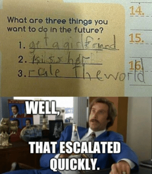Future, Three, and You: 14.  What are three things you  want to do in the future?  1. gra airried 15.  2. 1sisxhd  3. Cle Thenortd  15  WELL  THATESCALATED  QUICKLY. impact font. well, that escalated quickly