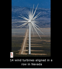 Memes, 🤖, and Wind: 14 wind turbines aligned in a  row in Nevada
