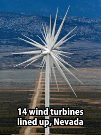 Memes, Ups, and 🤖: 14 wind turbines  lined up, Nevada