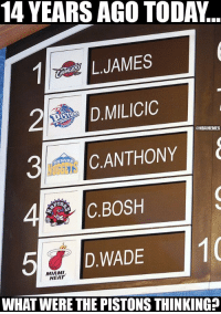 How did this happen? https://t.co/uVwCcxvPzK: 14 YEARS AGO TODA...  L.JAMES  D.MILICIC  ANTHONY  @NBAMEMES  4C.BOSH  5D.WADE  D.WADE1  MIAMI  HEAT  WHAT WERE THE PISTONS THINKING? How did this happen? https://t.co/uVwCcxvPzK