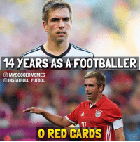 Respect 🙌: 14 YEARS AS A FOOTBALLER  CO MYSOCCERMEMES  INSTATROLL FUTBOL  0 RED CARDS Respect 🙌