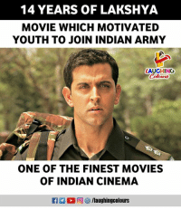 #Lakshya #HrithikRoshan: 14 YEARS OF LAKSHYA  MOVIE WHICH MOTIVATED  YOUTH TO JOIN INDIAN ARMY  LAUGHINO  Colowrs  ONE OF THE FINEST MOVIES  OF INDIAN CINEMA  12 % 向 /laughingcolours #Lakshya #HrithikRoshan