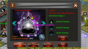 Reddit, The Game, and Devil: 1413,358)  Menu  2  Talent:1  Decrease your Talent Status by 1;  Free Times Today: 2  P-Defense+180(Epic)  Track on)  Normal Training  Special Training  Senior Training  Train  rnitureS  hveno Talent.  PeaceStage 5  UetoniS  Stage Inner-strength: 2642  Training(Free Free Training Show More  Rank  [System]〈*Tstar. Eris  defe  ated a devil in the Giant Ch  asm and re Even the game knows it...