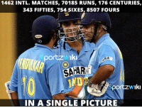 Memes, Cricket, and Indian: 1462 INTL. MATCHES, 70185 RUNS, 176 CENTURIES,  343 FIFTIES, 754 SIXES, 8507 FOURS  SAAR  IND  portzzw Iki  IN A SINGLE PICTURE A rare picture of Sachin Tendulkar, Sourav Ganguly Official and Virender Sehwag all 3 best Indian Cricket Team openers on the crease