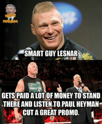 SMART GUY LESNARAta  GETSPAIDALOTOF MONEY TO STAND  THERE AND LISTENTO,PAUL HEYMAN  CUT A GREAT PROMO
