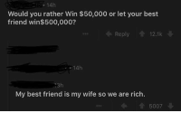 Best Friend, Would You Rather, and Best: 14h  Would you rather Win $50,000 or let your best  friend win$500,000?  Reply 12.1k  14h  13h  My best friend is my wife so we are rich.  5007