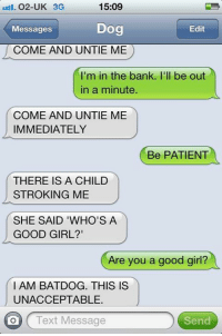 Memes, Bank, and Banks: 15:09  O2-UK 3G  Dog  Messages  Edit  COME AND UNTIE ME  I'm in the bank. I'll be out  in a minute.  COME AND UNTIE ME  IMMEDIATELY  Be PATIENT  THERE IS A CHILD  STROKING ME  SHE SAID 'WHO'S A  GOOD GIRL?  Are you a good girl?  I AM BAT DOG. THIS IS  UNACCEPTABLE.  on Text Message  Send Like Our page For more ==> Text from Dog
