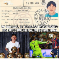 Barcelona, Club, and Memes: 15 FEB, 2002  TEMPORADA: 2001-2002  CLUB  BAP  Nom del jugador.  LIONEL ANDRES  MESSI  1r.Cognom  2n. nom  del jugador  club FUTBOL CLUB BARCELONA  Num.  Data de naixement  7899  9 8  ON THIS DAY 15 YEARSIAGO MESSI SIGNED  HIS FIRST CONTRACT WITH FG BARCELONA  NEUER Is LionelMessi the best player to ever live? 👇🏼 ⚡️LINK IN OUR BIO!!!👏🏻 follow -> [@wetrollfootball]