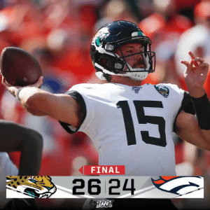 FINAL: @GardnerMinshew5 and the @Jaguars score 20 second-half points to win! #JAXvsDEN #DUUUVAL https://t.co/SFFF2gq8Za: 15  FINAL  26 24 FINAL: @GardnerMinshew5 and the @Jaguars score 20 second-half points to win! #JAXvsDEN #DUUUVAL https://t.co/SFFF2gq8Za