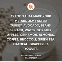 Food, Life, and Memes: 15 FOOD THAT MAKE YOUR  METABOLISM FASTER:  TURKEY, AVOCADO, BEANS  SPINACH, WATER, SOY MILK  APPLES, CINNAMON, ALMONDS  COFFEE, BROCCOLI, GREEN TEA,  OATMEAL, GRAPEFRUIT,  YOGURT.  TIPS, LIFE HACKS& MORE  @HACKERBOLT