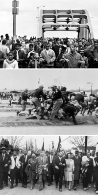 "Martin, Martin Luther King Jr., and Racism: 15  GE <p><a href=""http://todayinhistory.tumblr.com/post/158118559340/march-7th-1965-bloody-sunday-in-selma-on-this"" class=""tumblr_blog"">todayinhistory</a>:</p>  <blockquote><h2><b>March 7th 1965: Bloody Sunday in Selma</b><br/></h2><p><small>On  this day in 1965, a civil rights march took place from Selma to  Birmingham, Alabama; it became known as 'Bloody Sunday'. At this stage,  the Civil Rights Movement had been in motion for over a decade and  already achieved legislative success with the Civil Rights Act. However  the focus of the movement now became making the promise of equal  franchise guaranteed in the Fifteenth Amendment a reality. While  African-Americans exercised the right to vote in the years after the  amendment's passage in 1870, discriminatory measures like literacy  tests, poll taxes, and grandfather clauses were soon implemented across  the country to deprive them of the vote. Thus in 1965 civil rights  leaders like Martin Luther King Jr. made voter registration the core of  their efforts, centering the campaign on the particularly discriminatory  Selma, AL. On March 7th - 'Bloody Sunday' - as the six hundred unarmed  marchers were crossing the Edmund Pettus Bridge, they were descended  upon by state troopers who viciously beat the protestors. The violence  encountered by these peaceful marchers, which was captured on television  and broadcast around the world, led to national outcry and caused  President Johnson to publicly call for the passage of his  administration's proposed voting rights bill. After securing the support  of federal troops, another march was held on March 21st, and with the  protection of soldiers the marchers managed to arrive in Montgomery  after three days. The marchers were met in Montgomery - the epicentre of  the movement and the site of the 1954 bus boycott - by 50,000  supporters, who were <a href=""http://t.umblr.com/redirect?z=http%3A%2F%2Fmlk-kpp01.stanford.edu%2Findex.php%2Fencyclopedia%2Fdocumentsentry%2Fdoc_address_at_the_conclusion_of_selma_march%2F&amp;t=ODFiYTlmNTUzMDBkNDZlNDZmNWY3ZmRlMzUxZmFlM2IwZTFhYjJjMCxmektqZnFpQQ%3D%3D&amp;b=t%3AK8nQSpQKtfYKCWU81c9qzQ&amp;p=http%3A%2F%2Ftodayinhistory.tumblr.com%2Fpost%2F112966559746%2Fmarch-7th-1965-bloody-sunday-in-selma-on-this&amp;m=1"">addressed by King</a>.  Their efforts were rewarded when, in August of that year, Congress  passed the Voting Rights Act that ensured all Americans could vote. This  was one of the crowning achievements of the Civil Rights Movement, and  the Selma to Montgomery march is commemorated as one of the most  important moments of the struggle.</small></p><blockquote><p><b><i><small>""We are on the move and no wave of racism can stop us.  The burning of our churches will not deter us. The bombing of our homes  will not dissuade us. We are on the move now…not even the marching of  mighty armies can halt us. We are moving to the land of freedom""</small></i></b><br/><small>- King's &lsquo;Address at the Conclusion of the Selma to Montgomery March' - 25th March, 1965</small></p></blockquote></blockquote>"