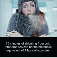 Exercise, Cold, and Can: 15 minutes of shivering from cold  temperatures can be the metabolic  equivalent of 1 hour of exercise 🤔🤔🤔