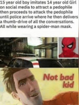 Proud of him: 15 year old boy imitates 14 year old Girl  on social media to attract a pedophile  then proceeds to attack the pedophile  until police arrive where he then delivers  a thumb-drive of all the conversations.  All while wearing a spider-man mask.  Not bad  kid Proud of him